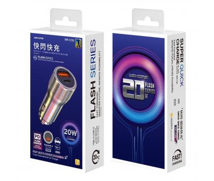 Incarcator Auto USB WK-Design WP-C30 KuaiShan, Quick Charge, 20W, 1 X USB - 1 X USB Tip-C, Argintiu