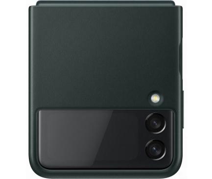 Husa Piele Samsung Galaxy Z Flip3 5G, Leather Cover, Verde EF-VF711LGEGWW