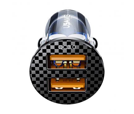Incarcator Auto USB Usams C23, Quick Charge, 36W, 2 X USB, Negru CC122CC01