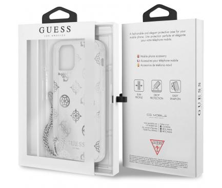 Husa Plastic - TPU Guess Chain Peony pentru Apple iPhone 12 Pro Max, Argintie GUHCP12LKSPESI