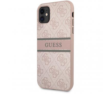 Husa Piele Guess 4G Printed Stripe pentru Apple iPhone 11, Roz GUHCN614GDPI