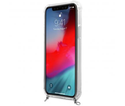 Husa Plastic - TPU Guess 4G Chain pentru Apple iPhone 12 Pro Max, Cu Snur Argintiu, Transparenta GUHCP12LKC4GSSI