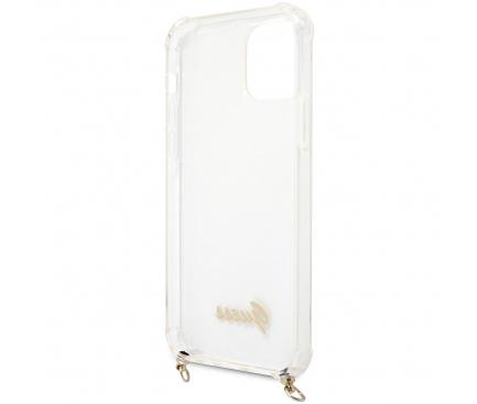 Husa Plastic - TPU Guess 4G Chain pentru Apple iPhone 12 Pro Max, Cu Snur Auriu, Transparenta GUHCP12LKC4GSGO