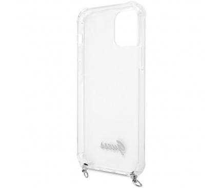 Husa TPU Guess 4G Chain pentru Apple iPhone 12 / Apple iPhone 12 Pro, Cu Snur Argintiu, Transparenta GUHCP12MKC4GSSI