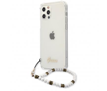 Husa TPU Guess pentru Apple iPhone 12 Pro Max, Cu Snur Perle, Transparenta GUHCP12LKPSWH