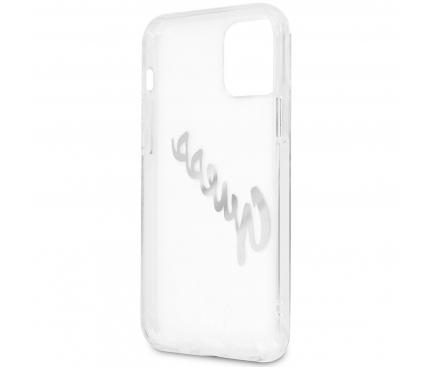 Husa Piele Guess Vintage Script Silver Logo pentru Apple iPhone 12 / Apple iPhone 12 Pro, Transparenta GUHCP12MKTRSVSI
