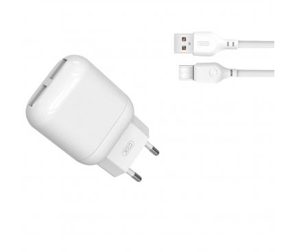 Incarcator Retea cu cablu USB Tip-C XO Design L78, 2.4A, 2 X USB, Alb