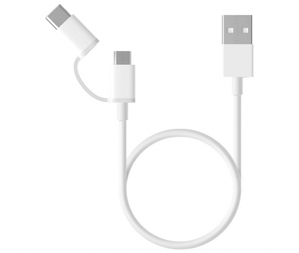Cablu Date si Incarcare USB la USB Type-C / MicroUSB Xiaomi, 0.3 m, 2in1, Alb SJV4083TY
