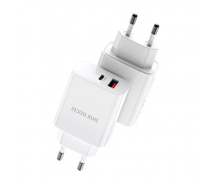 Incarcator Retea USB DUX DUCIS C70, Quick Charge, 20W, 1 X USB - 1 X USB Tip-C, Alb