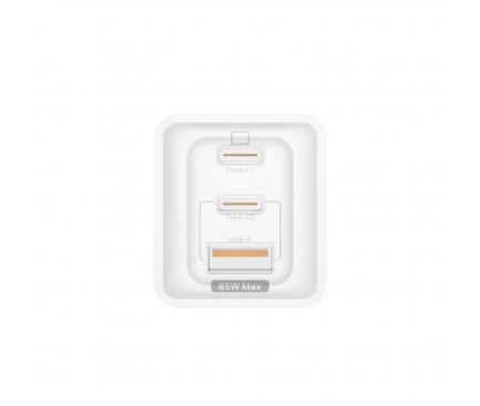 Incarcator Retea USB Dudao GaN A7xs, Quick Charge, 65W, 1 X USB - 2 x USB Tip-C, Alb