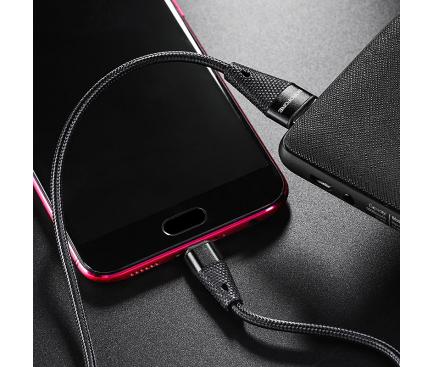 Cablu Date si Incarcare USB la MicroUSB Borofone Pineapple BU10, 1.2 m, 2.4A, Negru