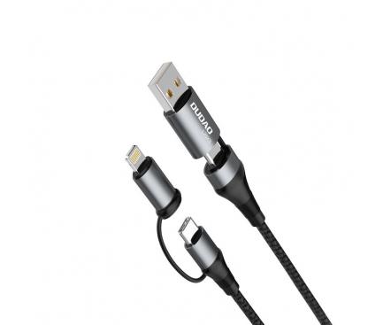 Cablu Date si Incarcare USB Type-C / USB la USB Type-C / Lightning Dudao L20xs, 65W, 1 m, 4in1, Gri