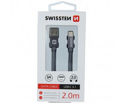 Cablu Date si Incarcare USB la USB Type-C Swissten, 2 m, Gri