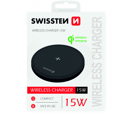 Incarcator Retea Wireless Swissten, Quick Charge, 15W, Negru