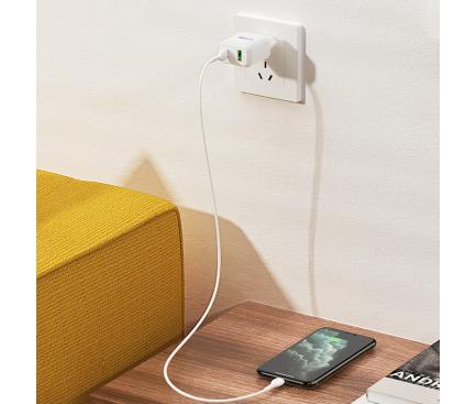 Incarcator Retea cu cablu Lightning BLUE Power BLN5, Quick Charge, 20W, 1 X USB - 1 X USB Tip-C, Alb