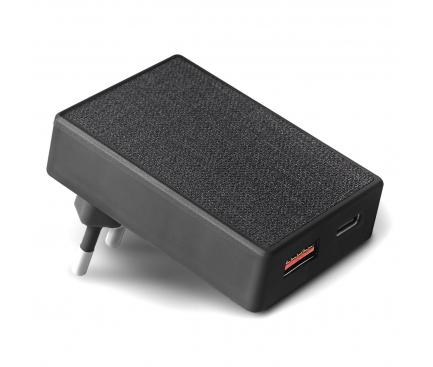 Incarcator Retea USB UNIQ Votre Slim Duo, Quick Charge, 20W, 1 X USB - 1 X USB Tip-C, Negru