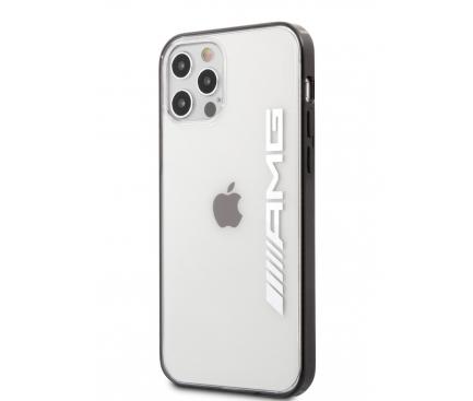 Husa TPU AMG pentru Apple iPhone 12 / Apple iPhone 12 Pro, Mettalic Black Edges, Transparenta AMHCP12MAESLBK
