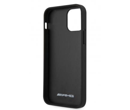 Husa Piele AMG pentru Apple iPhone 12 / Apple iPhone 12 Pro, Big Stamped Logo, Neagra AMHCP12MDOLBK