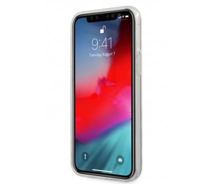 Husa Plastic - TPU AMG pentru Apple iPhone 12 / Apple iPhone 12 Pro, Horizontal Stripes, Neagra Transparenta AMHCP12MTCBW