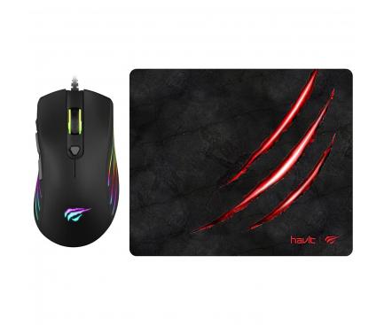Kit Mouse Wired + Mousepad HAVIT, Negru MS1007CM