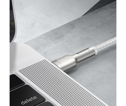 Cablu Date si Incarcare USB Type-C la USB Type-C Baseus Cafule, 2 m, 100W, Alb CATJK-D02