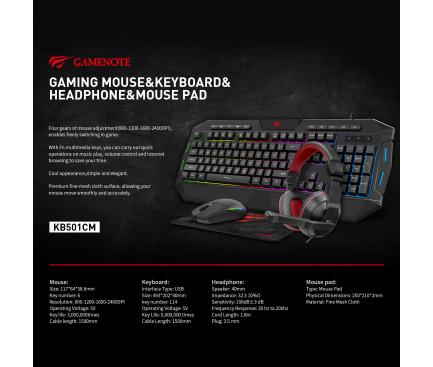 Kit Gaming HAVIT GAMENOTE 4in1, Tastatura + Mouse wired + mouse pad + casti, Negru KB501CM