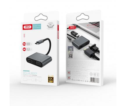 Hub USB Type-C XO Design HUB001, 4 in 1, Argintiu