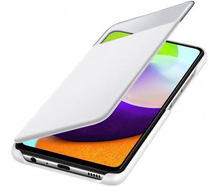 Husa Poliuretan Samsung Galaxy A52, S View Wallet, Alba EF-EA525PWEGWW