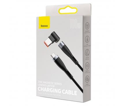 Cablu Incarcare USB Type-C la DC Square Port Baseus Zinc, 2 m, pentru laptop-uri Lenovo, Magnetic, 100W, Negru CATXC-U01
