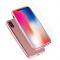 Pachet promotional Husa plastic Roz + Folie Protectie Ecran Tempered Glass pentru Apple iPhone X / Apple iPhone XS