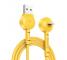 Cablu Date si Incarcare USB la Lightning Baseus Maruko, 1 m, Galben, Blister
