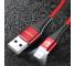 Cablu Date si Incarcare USB la Lightning Floveme , 2A, LED, 1 m, Rosu, Blister