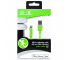 Cablu Date si Incarcare USB la Lightning Gecko Flat Glow, 1.2 m, Verde, Blister GG100131
