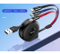Cablu Incarcare USB la Lightning - USB la MicroUSB - USB la USB Type-C Totu Design Conch Retractabil, 1m, Multicolor, Blister