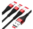 Cablu Incarcare USB la Lightning - USB la MicroUSB - USB la USB Type-C Amorus Fast Charging, 1.2 m, Rosu, Blister