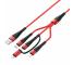 Cablu Date si Incarcare 2xUSB la Lightning - USB la MicroUSB - USB la USB Type-C Borofone BX32 Munificent 4-in-1, 1 m, Rosu, Blister