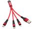 Cablu Incarcare USB - Lightning / USB Type-C / MicroUSB Enkay ENK-CB400, 0.14 m, Rosu, Blister