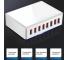 Incarcator Retea Statie USB OEM WLX-T9 40W, 8 x USB, Alb, Blister