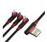 Cablu Date si Incarcare Proda Sparta, USB - 2x Lightning / USB Type C Elbow, PD-B11th, 5A, 1 m, Negru, Blister