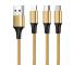 Cablu Incarcare USB - Lightning / USB Type-C / MicroUSB OEM Nylon Braided, 1 m, Auriu, Bulk