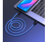 Cablu Date si Incarcare USB la USB Type-C HOCO Fluorescent X21 Plus, 1 m, Bleu
