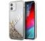 Husa Plastic - TPU Guess Liquid Glitter Vintage Script pentru Apple iPhone 12 mini, Aurie GUHCP12SGLVSGO