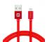 Cablu Date si Incarcare USB la Lightning Swissten Textile, 1.2 m, Rosu