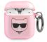 Husa Protectie Casti Karl Lagerfeld Glitter Choupette Head pentru Apple AirPods Gen 1 / Apple AirPods Gen 2, Roz KLA2UCHGP